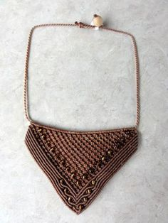 Macrame Necklace - brown with metalized golden glass beads