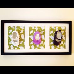 Beautiful way to frame baby shoes - using stylish background paper that suits your own decor and frame different shoes.  Baby Keepsakes, Baby Shoe Frames, Framing Baby Shoes