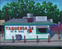 """""""Taco Stand"""" 8 by 10 inches acrylic on canvas Ro2 Art, Dallas, TX"""