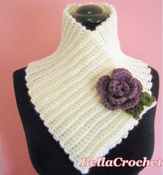 BellaCrochet: Sweet and Simple Scarflette with Rolled Rose: A Free Crochet Pattern For You Crochet Cowel, Crochet Collar Pattern, Freeform Crochet, Crochet Scarves, All Free Crochet, Unique Crochet, Vintage Crochet, Knitting Patterns, Crochet Patterns