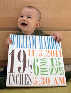 Baby Birth Announcement on 12x12 canvas - personalized with baby's name, birth stats, and birthdate.. $39.95, via Etsy.