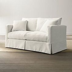 Shop Slipcover Only for Willow Modern Slipcovered Apartment Sofa. Machine-washable sofa slipcover is tailored in a cotton-blend fabric pre-washed for a softer, lived-in touch slipcover. Willow Sofa Replacement Slipcover is a Crate and Barrel exclusive. Sleeper Sofa Mattress, Full Sleeper Sofa, Mattress Pad, White Apartment, Apartment Sofa, Casual Living Rooms, White Couches, Sofa Furniture, Arrange Furniture