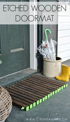 This wooden doormat requires $12 in supplies but packs a visual punch! This is part of the Home Depot's DIY workshop. See how other bloggers…