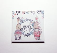 Happy Easter Magnet, Easter Bunny, Easter magnet, Magnet, Fridge magnet, Easter, Easter Rabbit, Easter gift, pastel colors (7387) by KellysMagnets on Etsy