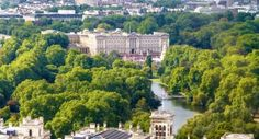 A View of St James's Park and Buckingham Palace in Central London England in Summer