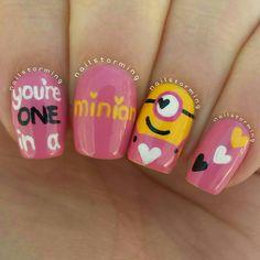 minion valentine nails