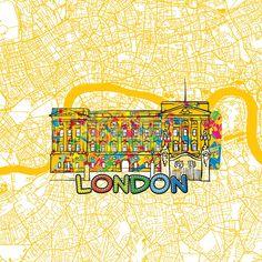 london travel art map