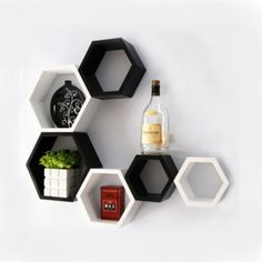 Onlineshoppee Fancy Set of 6 Hexagonal Shape MDF Wall Shelf Big Size ( x inch Color- Black and White *** Visit the image link more details. (This is an affiliate link and I receive a commission for the sales) World Map Wall Decor, Wall Shelf Decor, Wall Decor Stickers, Wall Mounted Shelves, Wooden Shelves, Diy Wall Decor, Decorative Shelves, Display Wall, Display Shelves