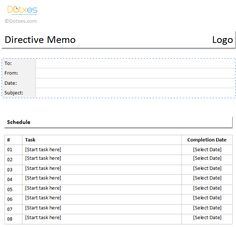 Directive Memo Template In A Table Format