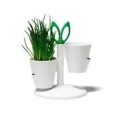 Get that herb garden started with this unique stand. The bottom of the pot detaches for easy watering: simply add water and reattach. Scissors are included to make trimming and adding herbs to your lat...  Find the Compact Herb Stand, as seen in the #TropicalAllure Collection at http://dotandbo.com/collections/tropicalallure?utm_source=pinterest&utm_medium=organic&db_sku=NMC0018