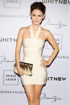 HERVE LEGER BOW BANDAGE DRESS WHITE