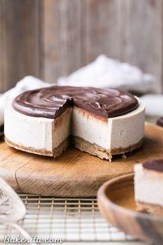 No-Bake Vanilla Bean Cheesecake with Chocolate Ganache #justeatrealfood #bakerita