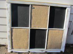 RECLAIMED Old Window - White Shabby Chis frame - Chalkboard - Burlap cork board - vintage Brass knobs - Farmhouse - Wedding Eightysix56.etsy.com