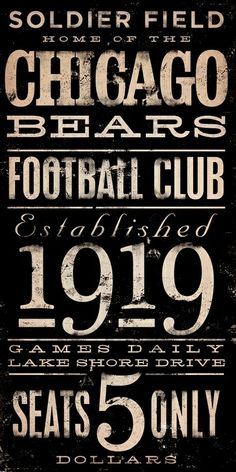 Chicago Bears sign....want the cubs and Chicago version of this too!!!