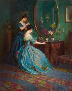 "The Corseted Beauty   ""Preparing for the Ball,"" by Viktor Schramm, ca. 1900"
