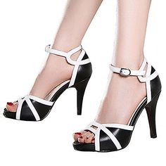 Getmorebeauty Women's White And Black Open Toes Strappy High Heel Sandals (10 B(M) US, Black)