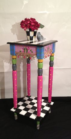 Incredible 12 x 12 Hand Painted Accent Side Table - plaid - stripes - polka dots - toile - checks. $249.00, via Etsy.