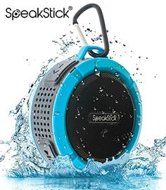 Bluetooth Shower Speaker SpeakStick PRO with Listen to Music  Receive Phone Calls Anywhere  Powerful 5W Speaker Micro SD and Built in Microphone For Outdoor  Indoor Use Blue *** ON SALE Check it Out