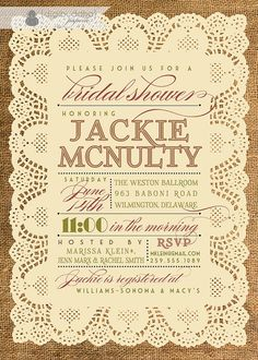 Lace Burlap Bridal Shower Invitation Vintage Rustic Bridal Wedding Invitation Typography Poster Printable Digital or Printed - Jackie Style. $23.00, via Etsy.