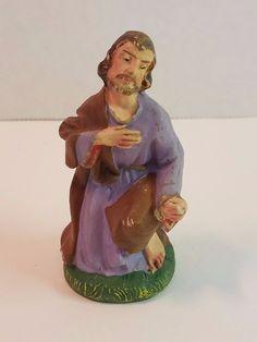 """Vtg Xmas Nativity Figure Paper Mache Composition Figurine Joseph Italy Creche 3"""""""