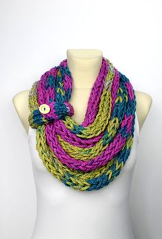 Knit Cowl Scarf - Knit Infinity Scarf - Knitted Loop Scarf - Thick Winter Shawl - Chunky Knit Scarf - Knit Chain Scarf - Bulky Knit Scarf