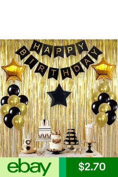 Glitter Gold Letters Happy Birthday Bunting Garland Party Hanging Banner Decor Y 50th Birthday Party Decorations, Happy Birthday Bunting, Gold Birthday Party, Birthday Backdrop, Golden Birthday, 30th Birthday Parties, 30th Birthday Ideas For Men Party, Surprise Party Decorations, Roaring 20s Birthday Party