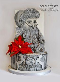 Santa Claus Cake by Dolci Ritratti di Katia Malizia Christmas Themed Cake, Christmas Cake Designs, Christmas Treats, Christmas Cakes, Xmas Cakes, Santa Cake, Cupcake Cakes, Cupcakes, Merry Christmas To You