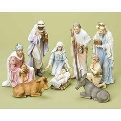 "9-Piece 10"" Pastel Nativity Figure Set"