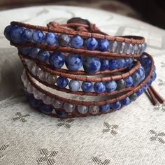 Natural Sodalite Real Leather Wrap Bracelet Hand selected natural stone faceted beads on this real leather wrap bracelet. Unique color progression will grab everyone's attention. Easily dresses up or down. 2 setting closure will fit most size wrists. No trades for me. Jewelry Bracelets