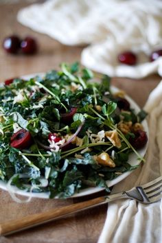 Cherry and Pea Shoot Kale Salad with Date-Balsamic Vinaigrette