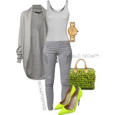 Untitled #3235 by stylebydnicole on Polyvore featuring moda, The Row, iHeart, Pierre Balmain, Christian Louboutin, Louis Vuitton and Versace