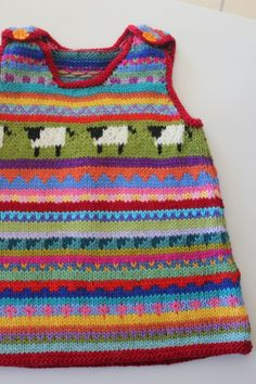 """A beautiful little pinafore featuring """"sheep"""" to fit a 6 month old - Babykleidung Baby Sweater Knitting Pattern, Fair Isle Knitting Patterns, Knit Baby Sweaters, Knitted Baby Clothes, Knitted Baby Blankets, Knit Baby Dress, Baby Cardigan, How To Purl Knit, Knitting For Kids"""