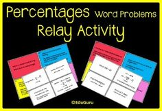 This is the way to go if you would like your students to practice how to solve word problems with percentages. My students LOVE relay games like this and they keep asking for more!The relay game includes 24 cards (12 question and 12 answer cards).Full instructions of how to play the relay game is included!This product can also be used as math center task cards!Follow EduGuru for more Mathematics Fun Activities.