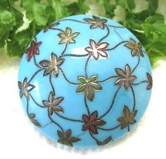 ART-NOUVEAU-ROBINS-EGG-BLUE-GLASS-BUTTON-W-STERLING-OVERLAY-LEAVES