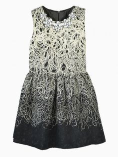 Sleeveless Dress With Floral Gemstone Neck Line - Choies.com