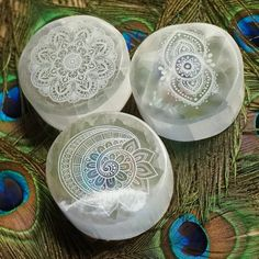 Engraved Selenite Charging Plates for an abundance of positive energy. These…