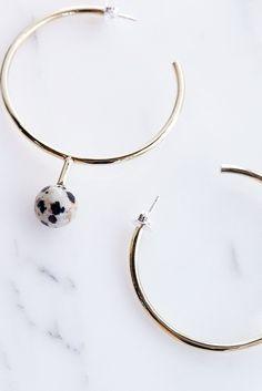 Quarry Farias Earrings in Brass and Dalmatian Jasper | Oroboro Store | Brooklyn…