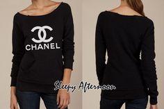White Chanel - Women Eco Fleece Sweatshirt -  Black