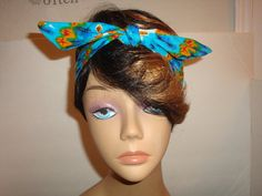 Dolly bow headband tie pinup hair bow IKAT by orangemonkeydreams