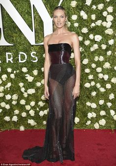 Golden girl: Candice Swanepoellooked stunning as she arrived at the 2017 Tony Awards in New York City on Sunday night