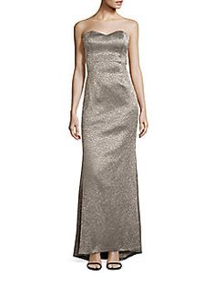 Badgley Mischka Platinum Label - Metallic Strapless Evening Gown