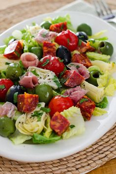 Antipasto salad is an easy no-cook weeknight meal. Gluten-free, dairy-free, and paleo - perfect when you don