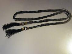 VTG 1960s Retired Sarah Coventry Black Beaded Braided Belt with Beaded Fringe Brass Hardware Size MEDIUM