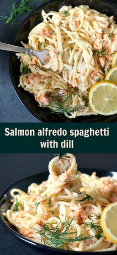 Salmon alfredo spaghetti with dill, a delicious under 30-minute recipe that makes a great dinner with the family.