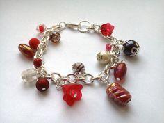 Bracelet perlé rouge