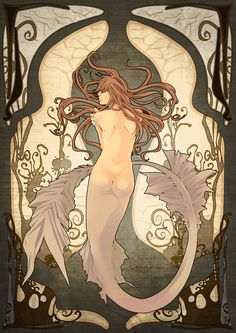 mermaid, art nouveau style