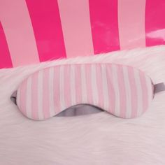 Victoria Secret VS Dreamer Travel Sleep Eye Mask Signature Stripes Pink Grey One