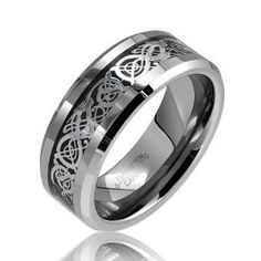 Amazon.com: Bling Jewelry Celtic Dragon Comfort Fit Black Inlay Tungsten Mens Wedding Ring: Jewelry