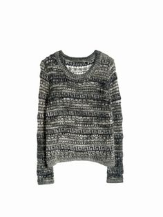 Pull Maille ajourée motif Inca. Col rond. Manches longues.
