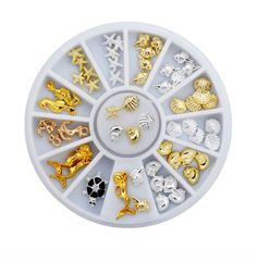 1Set New Sea Style Shell Starfish Mix Design 3d Alloy Nail Art Rhinestone Studs Decoration Wheel Set DIY Beauty Charm Nail Tools